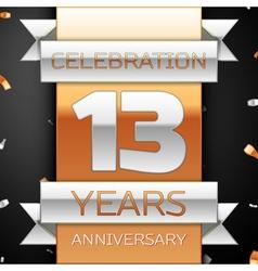 Thirteen years anniversary celebration golden and vector