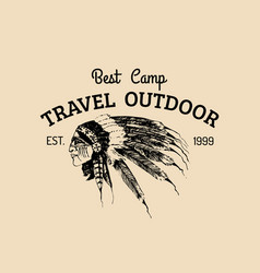 tribal camp logo tourist sign with hand vector image vector image