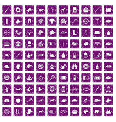 100 dog icons set grunge purple vector
