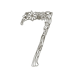 Number 7 coloring book for adults vector image