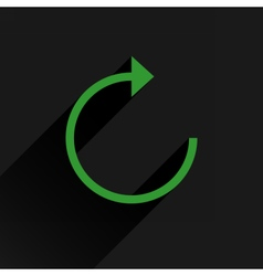 Flat green arrow icon reload repeat sign vector