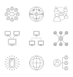 Global internet icons set outline style vector
