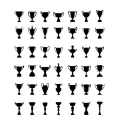 Silhouettes of trophy cup vector