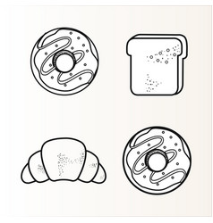 Hand drawn bakery goods design vector