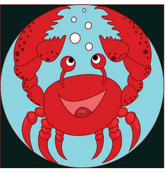 funny cartoon crab on the colorless background vector image