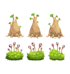 Funny cartoon fantasy trees and bushes set vector