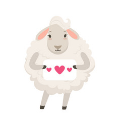 Cute white sheep character holding paper with vector