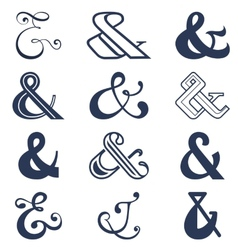 Collection of twelve ampersands sign designs vector