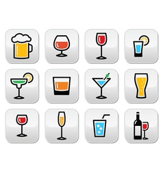 Drink colorful alcohol beverage buttons set vector