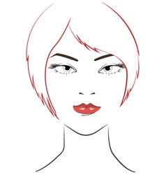 Women face with red hair vector