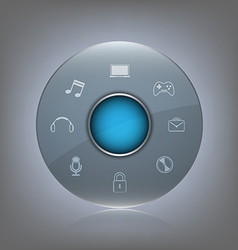 Transparent glass button with icon vector