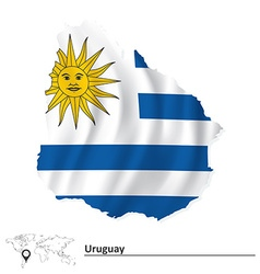 Map of uruguay with flag vector