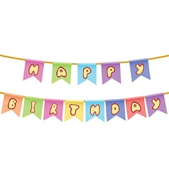 Happy birthday text on rope isolated on white vector
