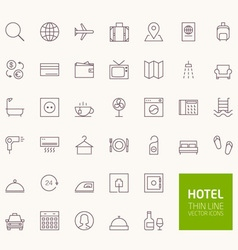 Hotel booking outline icons for web and mobile app vector