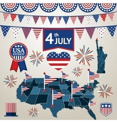Fourth of july card with different signs and vector