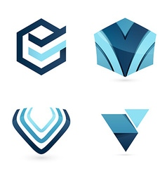 V letter logo set vector