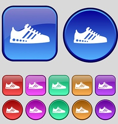 Sneakers icon sign a set of twelve vintage buttons vector