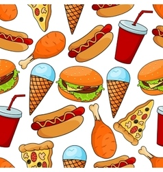 Seamless pattern of tasty fast food vector