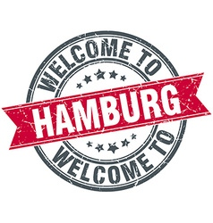 Welcome to hamburg red round vintage stamp vector