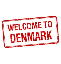 Welcome to denmark red grunge square stamp vector