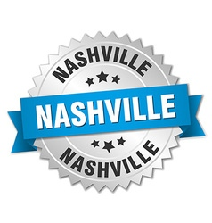 Nashville round silver badge with blue ribbon vector