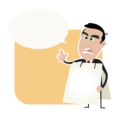 Angry white business man holding a sandwich board vector