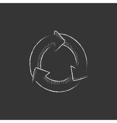 Arrows circle drawn in chalk icon vector