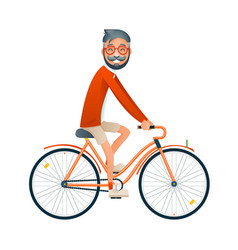 Bicycle ride geek hipster travel lifestyle concept vector