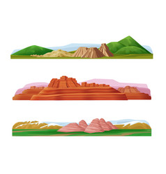 cartoon colorful mountain landscapes set vector image vector image