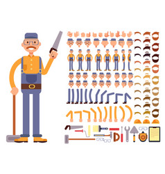 Cartoon man construction worker in jumpsuit vector