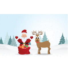 christmas background with santa claus and vector image vector image