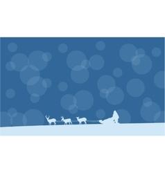 Christmas santa with train landscape vector