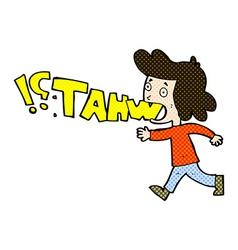 Comic cartoon woman shouting what vector