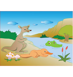 Crocodile in lake sneaking on prey vector