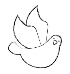 Cute dove flying icon vector
