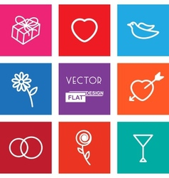 Flat Wedding Icons vector image