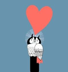 funny graphics in love owl on a blue backgroun vector image vector image