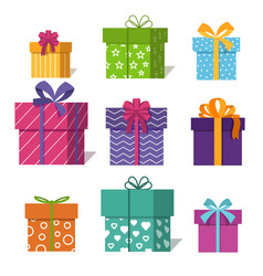 Gifts or presents boxes icons for valentine xmas vector