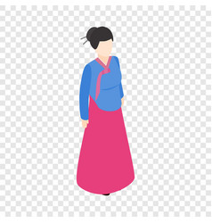 Girl korean isometric icon vector