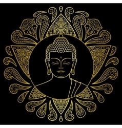 Gold buddha with lotus vector