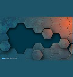 grunge texture with hexagons segments vector image vector image