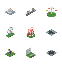 Isometric city set of crossroad seesaw aiming vector