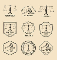 law office logos set with scales of justice gavel vector image vector image