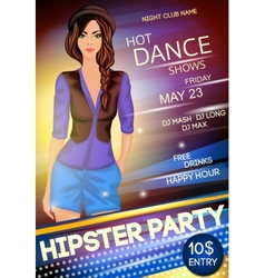 Night club hipster party poster vector image vector image