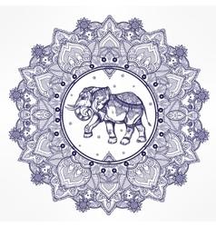 Paisley mandala with elephant inside vector