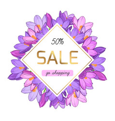 Purple violet crocus flowers spring sale banner vector