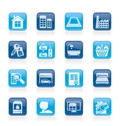 real estate objects and icons vector image