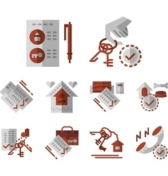 Rent of house flat color icons vector image vector image