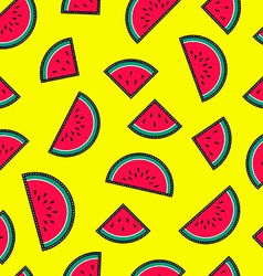 Seamless pattern with watermelon fruit icons vector