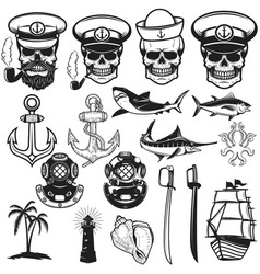 Set of nautical elements anchor fish shark ship vector